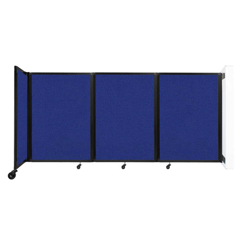"""Wall-Mounted Room Divider 360 Folding Partition 8'6"""" x 4' Royal Blue Fabric"""