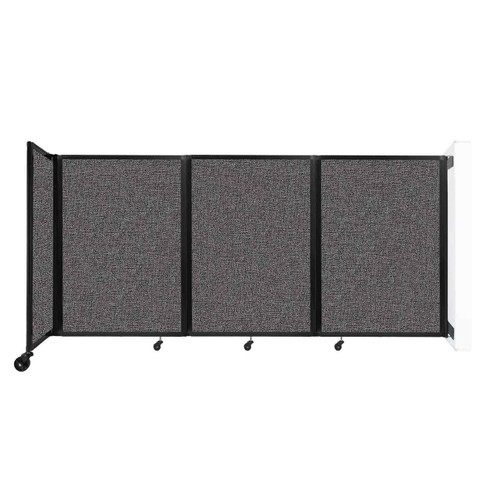 """Wall-Mounted Room Divider 360 Folding Partition 8'6"""" x 4' Charcoal Gray Fabric"""