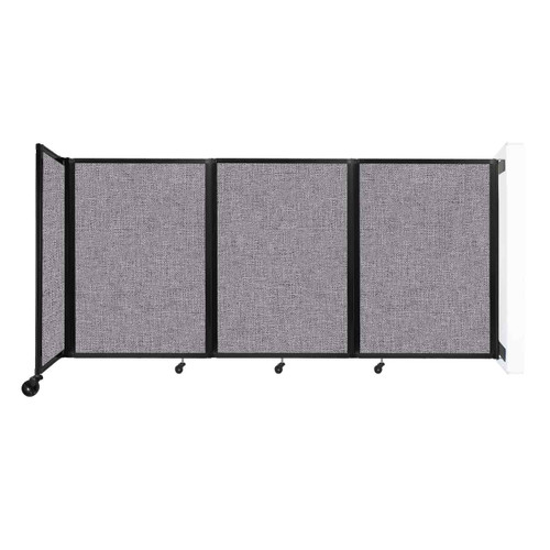 """Wall-Mounted Room Divider 360 Folding Partition 8'6"""" x 4' Cloud Gray Fabric"""