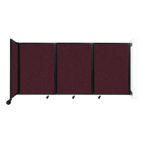 """Wall-Mounted Room Divider 360 Folding Partition 8'6"""" x 4' Cranberry Fabric"""
