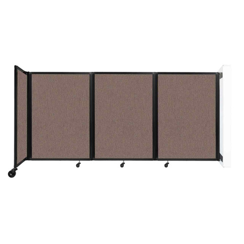 """Wall-Mounted Room Divider 360 Folding Partition 8'6"""" x 4' Latte Fabric"""
