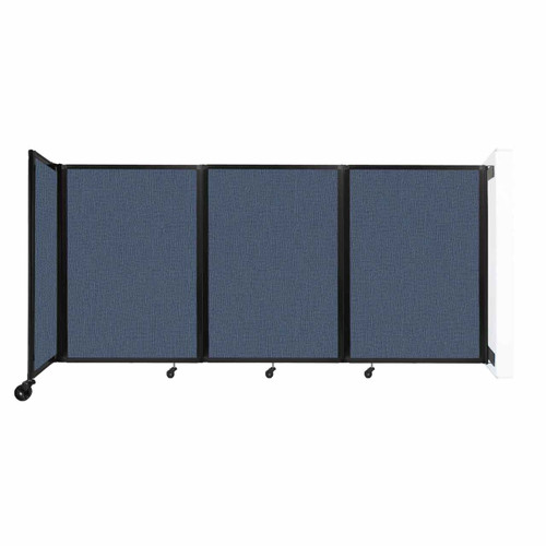 """Wall-Mounted Room Divider 360 Folding Partition 8'6"""" x 4' Ocean Fabric"""