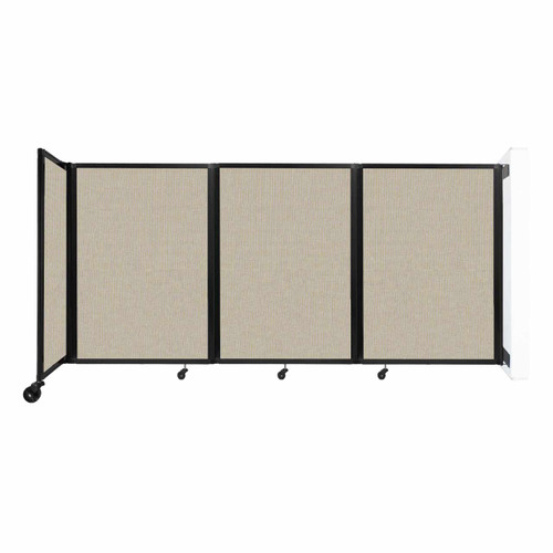 """Wall-Mounted Room Divider 360 Folding Partition 8'6"""" x 4' Sand Fabric"""
