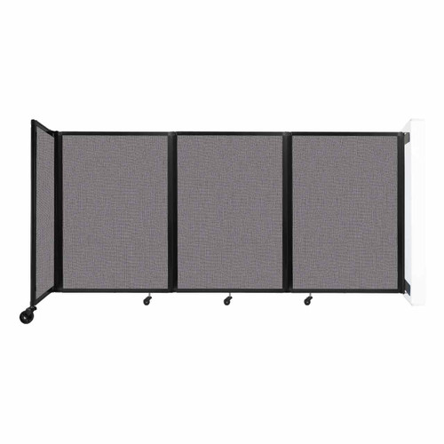 """Wall-Mounted Room Divider 360 Folding Partition 8'6"""" x 4' Slate Fabric"""