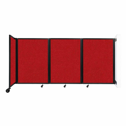 """Wall-Mounted Room Divider 360 Folding Partition 8'6"""" x 4' Red Fabric"""