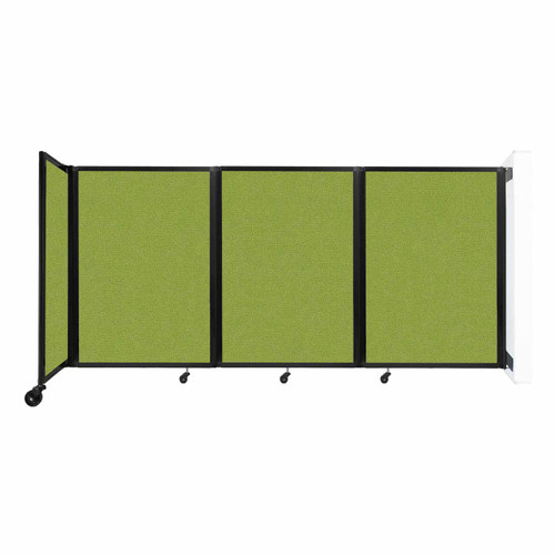 """Wall-Mounted Room Divider 360 Folding Partition 8'6"""" x 4' Lime Green Fabric"""