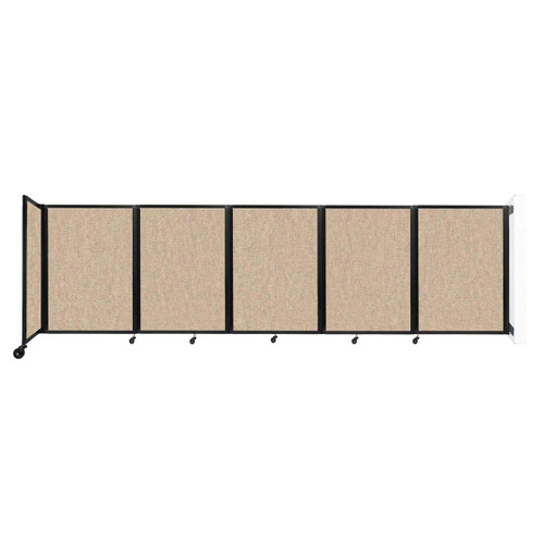 Wall-Mounted Room Divider 360 Folding Partition 14' x 4' Beige Fabric