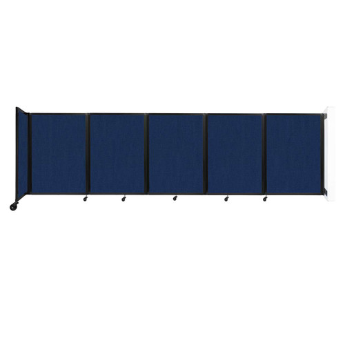 Wall-Mounted Room Divider 360 Folding Partition 14' x 4' Navy Blue Fabric