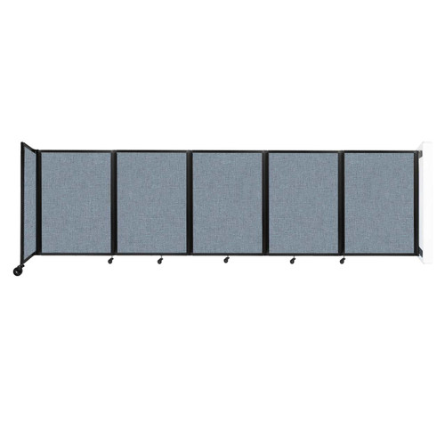 Wall-Mounted Room Divider 360 Folding Partition 14' x 4' Powder Blue Fabric