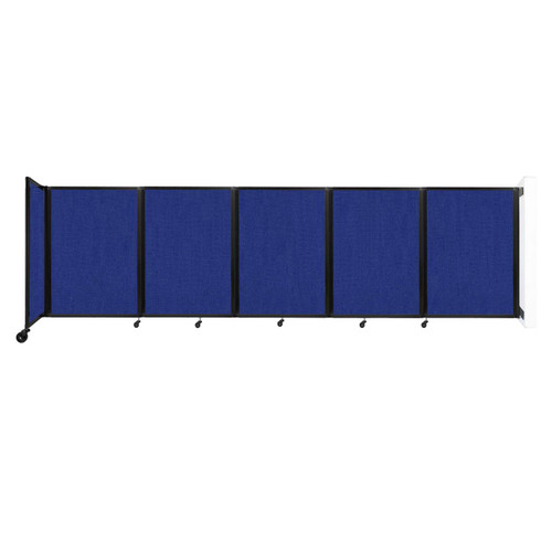 Wall-Mounted Room Divider 360 Folding Partition 14' x 4' Royal Blue Fabric