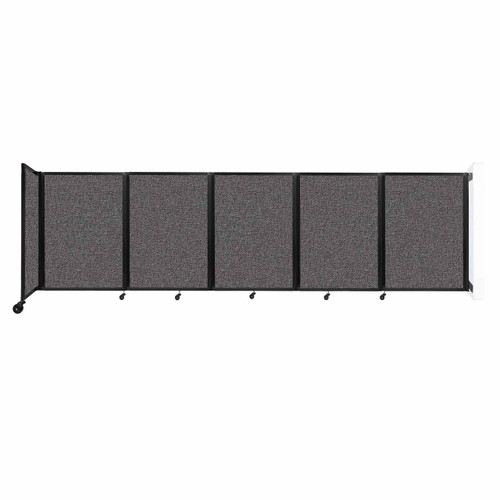 Wall-Mounted Room Divider 360 Folding Partition 14' x 4' Charcoal Gray Fabric