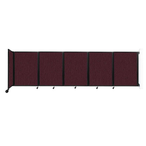 Wall-Mounted Room Divider 360 Folding Partition 14' x 4' Cranberry Fabric