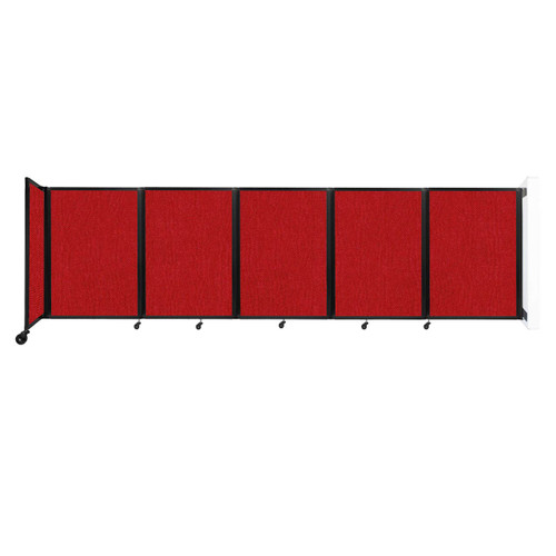 Wall-Mounted Room Divider 360 Folding Partition 14' x 4' Red Fabric