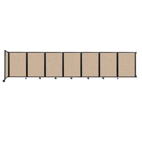 """Wall-Mounted Room Divider 360 Folding Partition 19'6"""" x 4' Beige Fabric"""