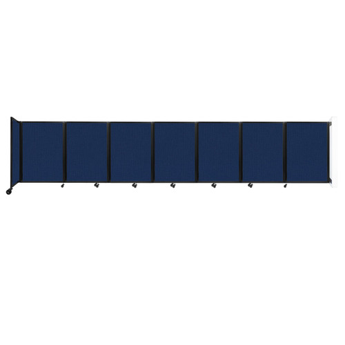 """Wall-Mounted Room Divider 360 Folding Partition 19'6"""" x 4' Navy Blue Fabric"""
