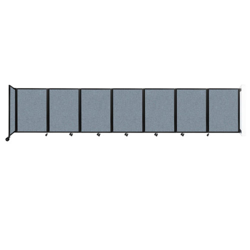 """Wall-Mounted Room Divider 360 Folding Partition 19'6"""" x 4' Powder Blue Fabric"""