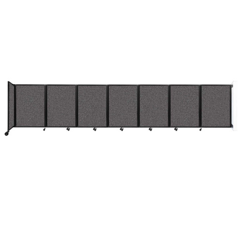 """Wall-Mounted Room Divider 360 Folding Partition 19'6"""" x 4' Charcoal Gray Fabric"""