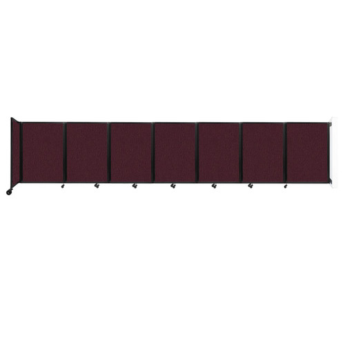 """Wall-Mounted Room Divider 360 Folding Partition 19'6"""" x 4' Cranberry Fabric"""