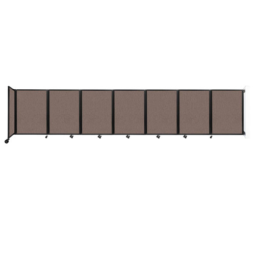 """Wall-Mounted Room Divider 360 Folding Partition 19'6"""" x 4' Latte Fabric"""