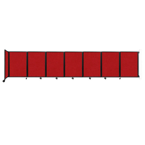 """Wall-Mounted Room Divider 360 Folding Partition 19'6"""" x 4' Red Fabric"""