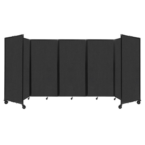 Room Divider 360 Folding Portable Partition 14' x 6' Black Fabric