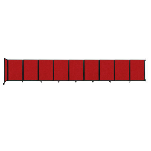 Wall-Mounted Room Divider 360 Folding Partition 25' x 4' Red Fabric