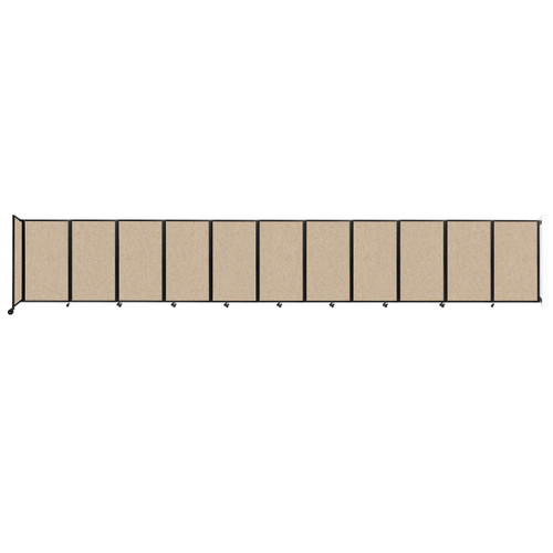 """Wall-Mounted Room Divider 360 Folding Partition 30'6"""" x 5' Beige Fabric"""