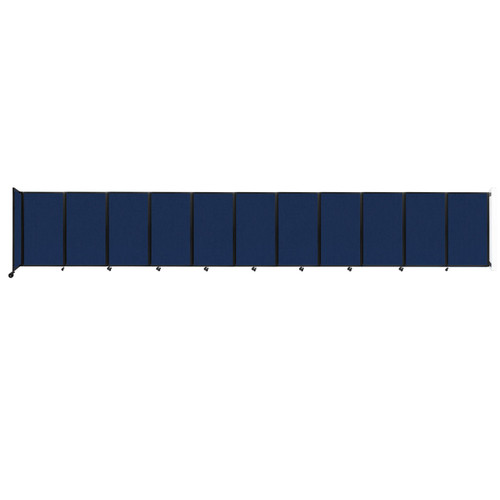 """Wall-Mounted Room Divider 360 Folding Partition 30'6"""" x 5' Navy Blue Fabric"""