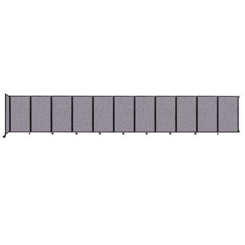 """Wall-Mounted Room Divider 360 Folding Partition 30'6"""" x 5' Cloud Gray Fabric"""