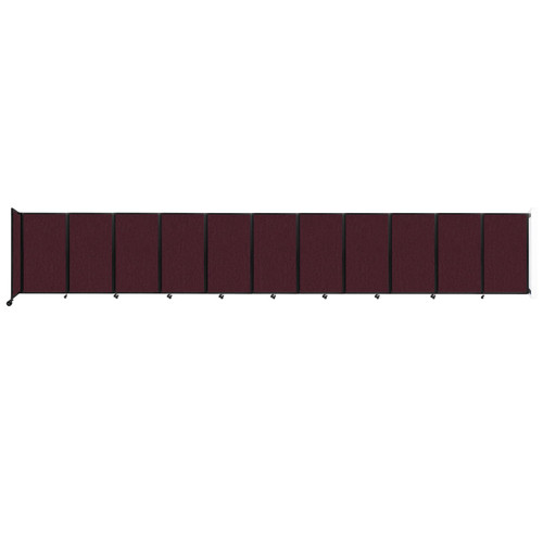 """Wall-Mounted Room Divider 360 Folding Partition 30'6"""" x 5' Cranberry Fabric"""