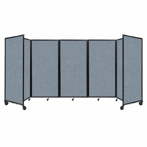 Room Divider 360 Folding Portable Partition 14' x 6' Powder Blue Fabric