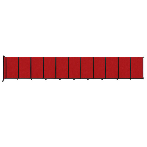 """Wall-Mounted Room Divider 360 Folding Partition 30'6"""" x 5' Red Fabric"""