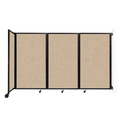"""Wall-Mounted Room Divider 360 Folding Partition 8'6"""" x 5' Beige Fabric"""