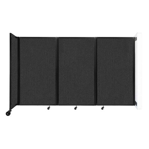 """Wall-Mounted Room Divider 360 Folding Partition 8'6"""" x 5' Black Fabric"""
