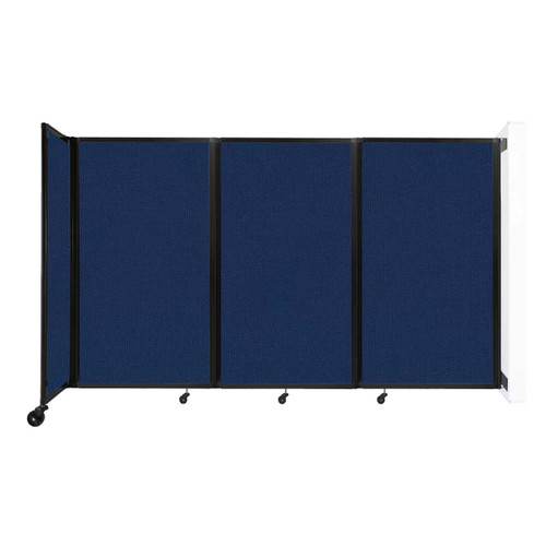 """Wall-Mounted Room Divider 360 Folding Partition 8'6"""" x 5' Navy Blue Fabric"""
