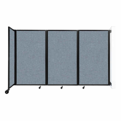 """Wall-Mounted Room Divider 360 Folding Partition 8'6"""" x 5' Powder Blue Fabric"""