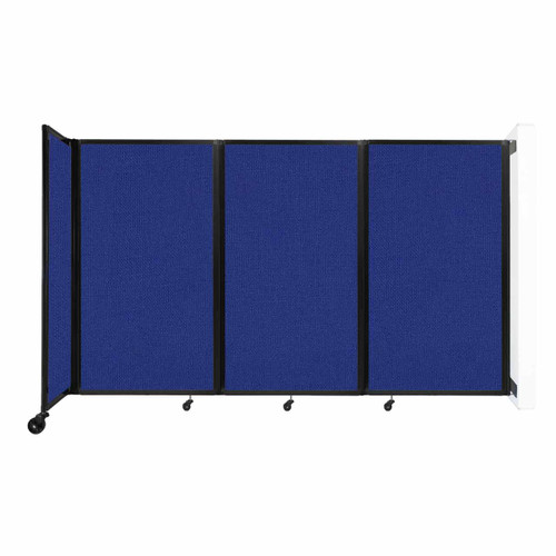 """Wall-Mounted Room Divider 360 Folding Partition 8'6"""" x 5' Royal Blue Fabric"""
