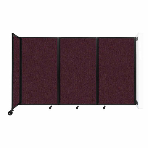 """Wall-Mounted Room Divider 360 Folding Partition 8'6"""" x 5' Cranberry Fabric"""
