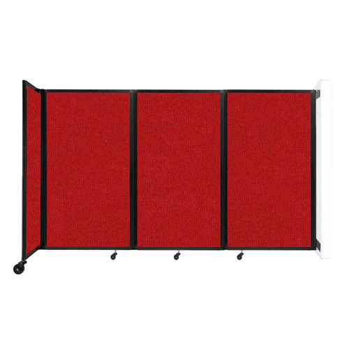 """Wall-Mounted Room Divider 360 Folding Partition 8'6"""" x 5' Red Fabric"""