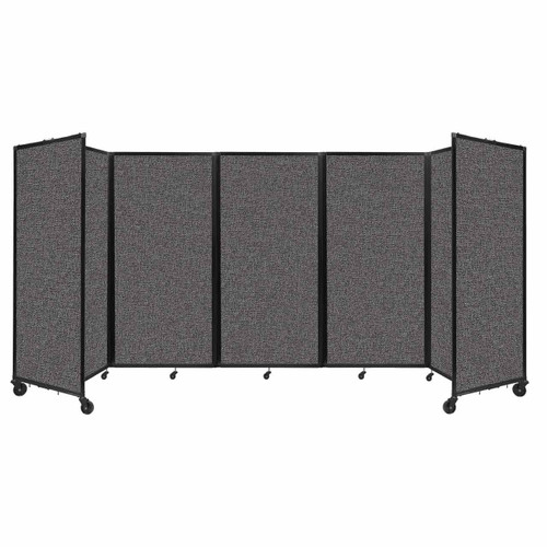 Room Divider 360 Folding Portable Partition 14' x 6' Charcoal Gray Fabric