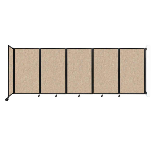 Wall-Mounted Room Divider 360 Folding Partition 14' x 5' Beige Fabric