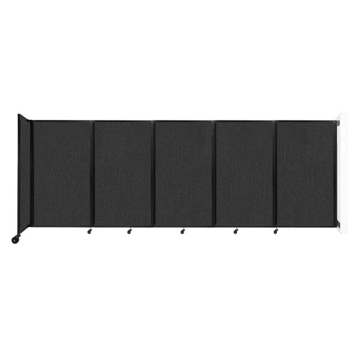 Wall-Mounted Room Divider 360 Folding Partition 14' x 5' Black Fabric