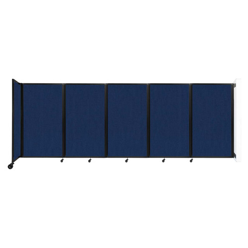 Wall-Mounted Room Divider 360 Folding Partition 14' x 5' Navy Blue Fabric