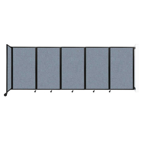 Wall-Mounted Room Divider 360 Folding Partition 14' x 5' Powder Blue Fabric