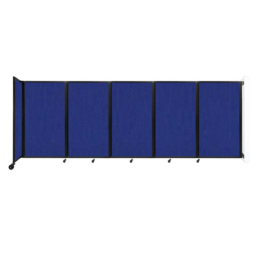 Wall-Mounted Room Divider 360 Folding Partition 14' x 5' Royal Blue Fabric