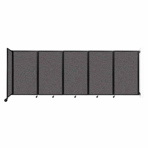 Wall-Mounted Room Divider 360 Folding Partition 14' x 5' Charcoal Gray Fabric