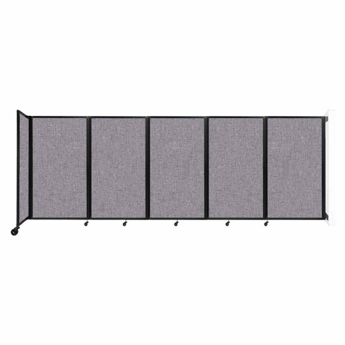 Wall-Mounted Room Divider 360 Folding Partition 14' x 5' Cloud Gray Fabric