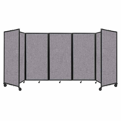 Room Divider 360 Folding Portable Partition 14' x 6' Cloud Gray Fabric