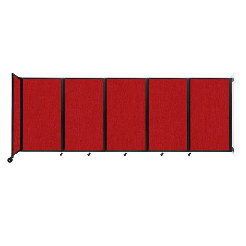 Wall-Mounted Room Divider 360 Folding Partition 14' x 5' Red Fabric