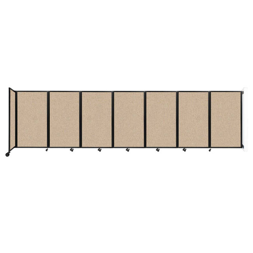 """Wall-Mounted Room Divider 360 Folding Partition 19'6"""" x 5' Beige Fabric"""